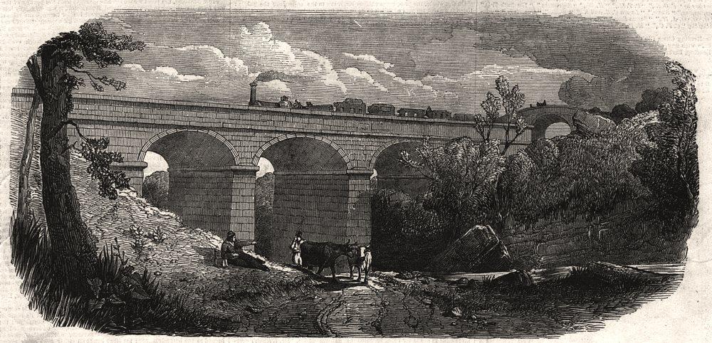 Associate Product The Ogden viaduct. Lancashire, antique print, 1848