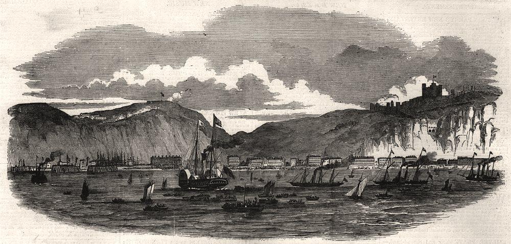 Associate Product Queen Victoria's visit to Dover harbour. Kent, antique print, 1850