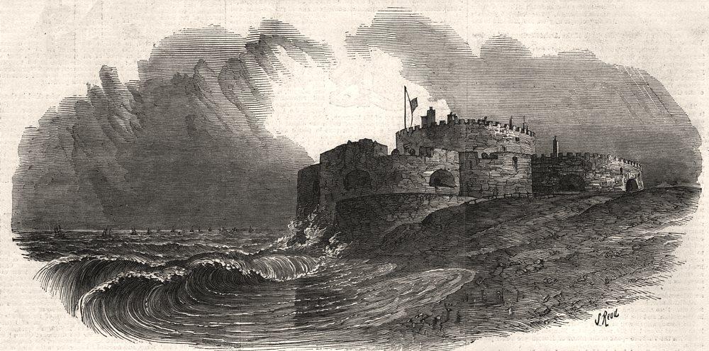 Associate Product Cinque Ports: Sandown Castle, Kent, antique print, 1853