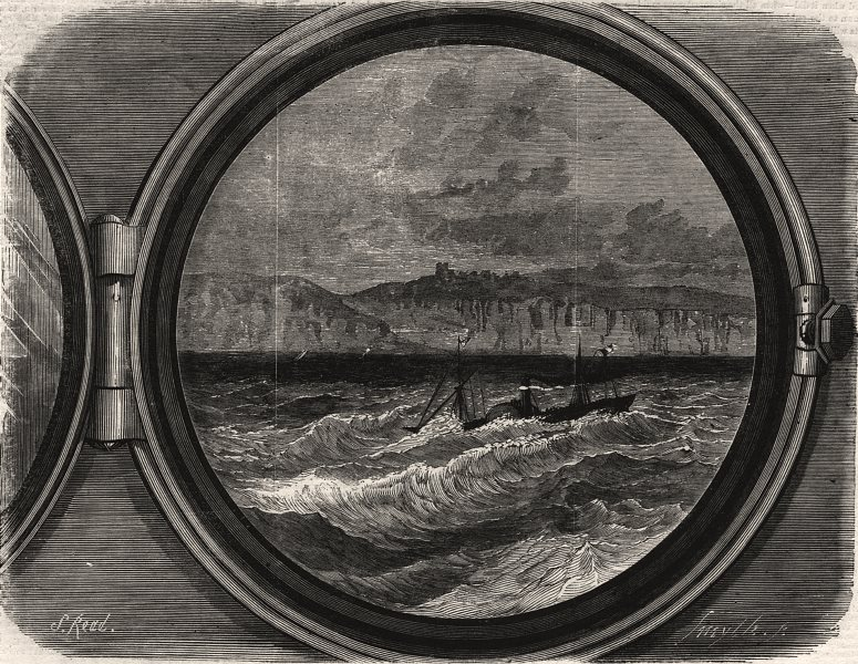"""Associate Product Off Dover: a view from the saloon of the """"Great Eastern"""", during the storm, 1859"""
