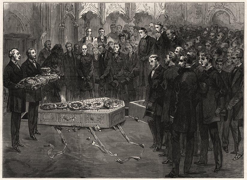 Associate Product Funeral of the late Lord Lytton, in Westminster Abbey. London, old print, 1873