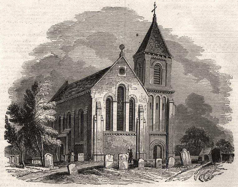 Associate Product Bromley church. London, antique print, 1843