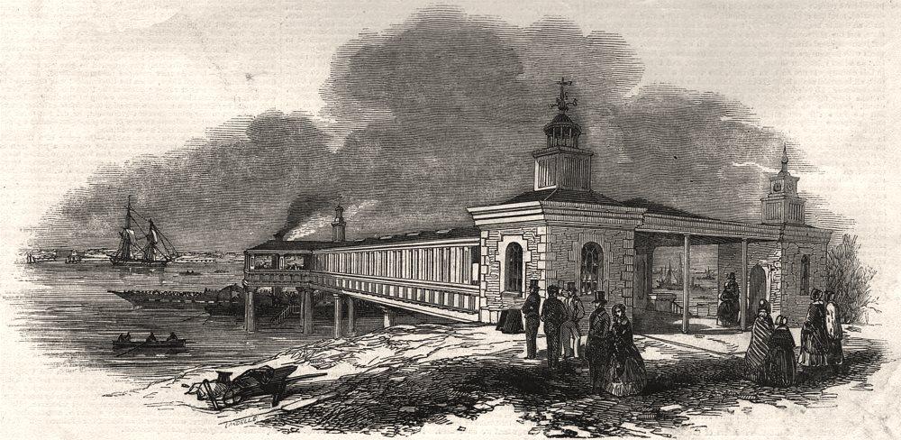 Associate Product The terrace new pier, Gravesend. Kent, antique print, 1845