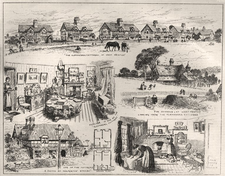 Associate Product The Prince Of Wales's labourers' cottages at Sandringham. Norfolk, print, 1884