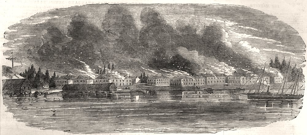 Associate Product Destruction of Russian government buildings on Kotka island, Finland, 1855