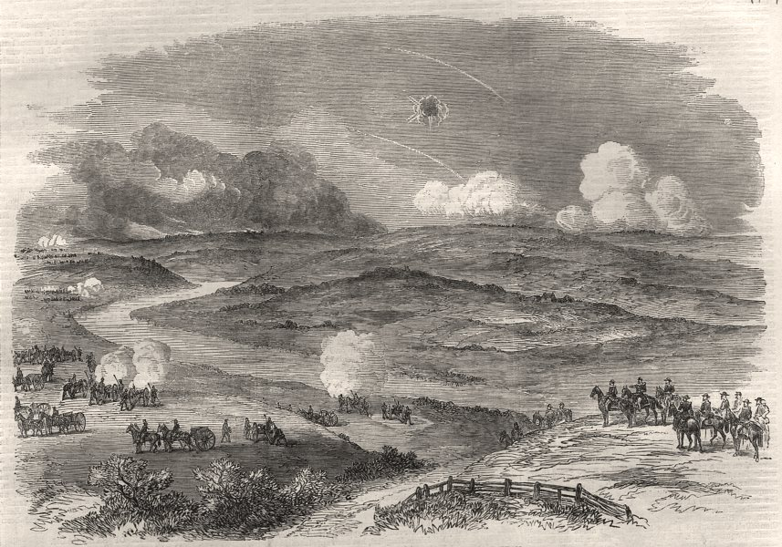 Associate Product The war: the engagement near Carignano, August 30. Italy, antique print, 1870
