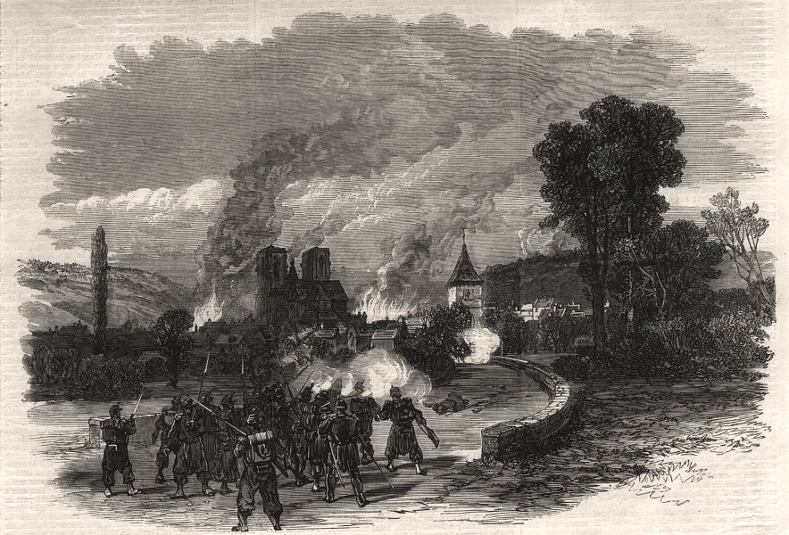 Associate Product The war: the fight at Mouzon, August 30. Ardennes, antique print, 1870