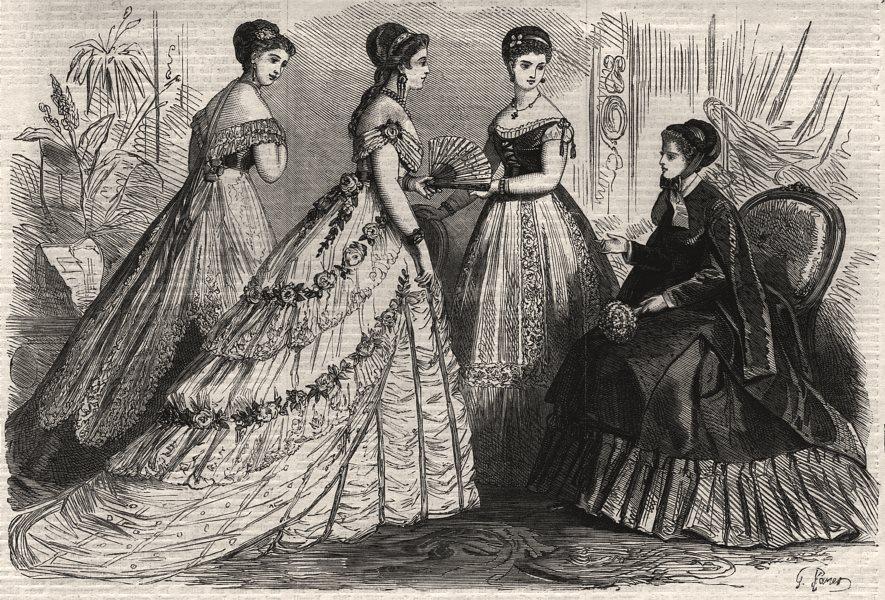 Associate Product Paris fashions for February, antique print, 1868