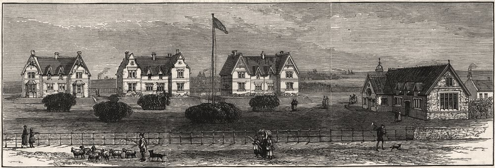 Associate Product The Northumberland village homes at Whitley, near Tynemouth, antique print, 1883