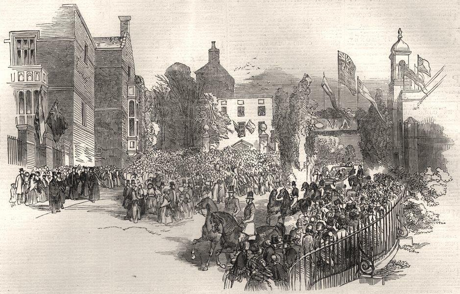 Associate Product Her Majesty's visit to Harrow School. London, antique print, 1848