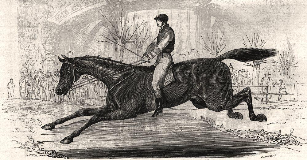 Associate Product The Harrow Steeplechase - the last brook. London, antique print, 1845