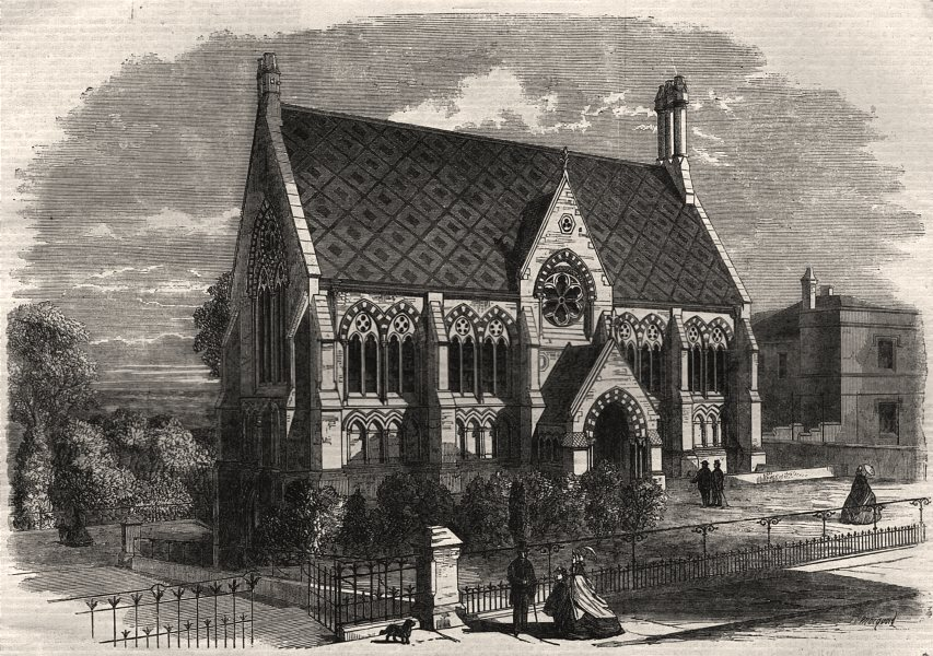 Associate Product The Vaughan Library, Harrow. London, antique print, 1863
