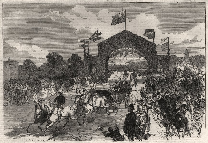 Associate Product Departure of the bride and bridegroom from Kew. London, antique print, 1866