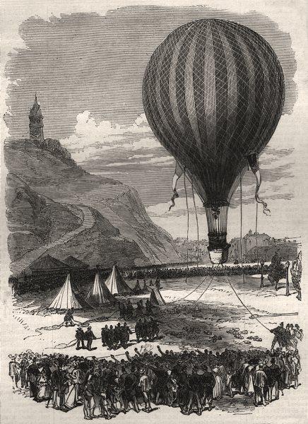 Associate Product The war: defence of Paris - a captive balloon at Montmartre, antique print, 1870