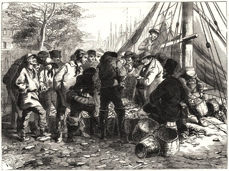Associate Product Sale of herrings, on the quay, Great Yarmouth. Norfolk, antique print, 1856