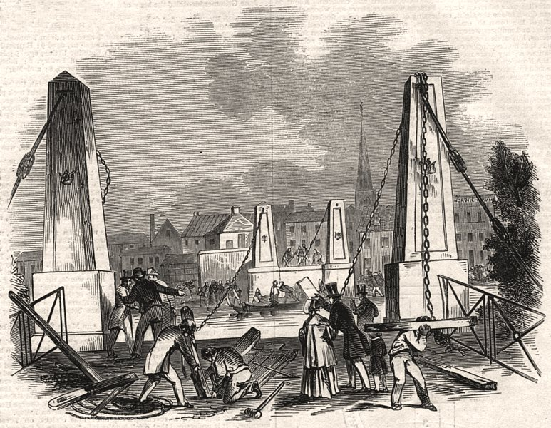 Associate Product Remains of the suspension bridge, at Great Yarmouth. Norfolk, old print, 1845