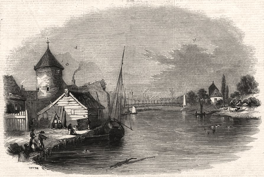 Associate Product The suspension bridge and river, Great Yarmouth. Norfolk, antique print, 1845
