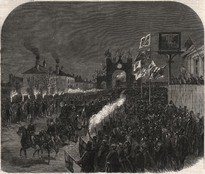 Associate Product Prince & Princess Of Wales passing the triumphal arch at Diss. Norfolk, 1866