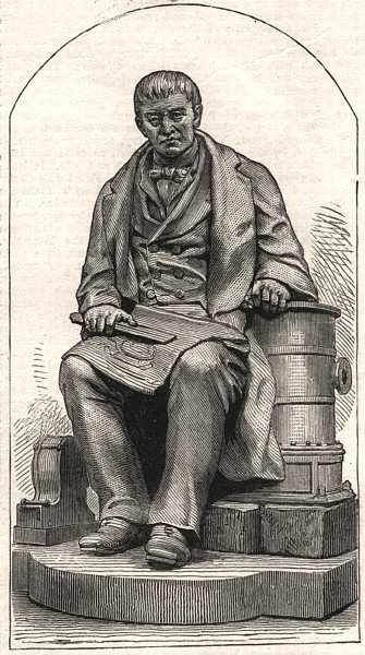 Associate Product Statue of Mr. James Carmichael, engineer, at Dundee. Scotland, old print, 1876
