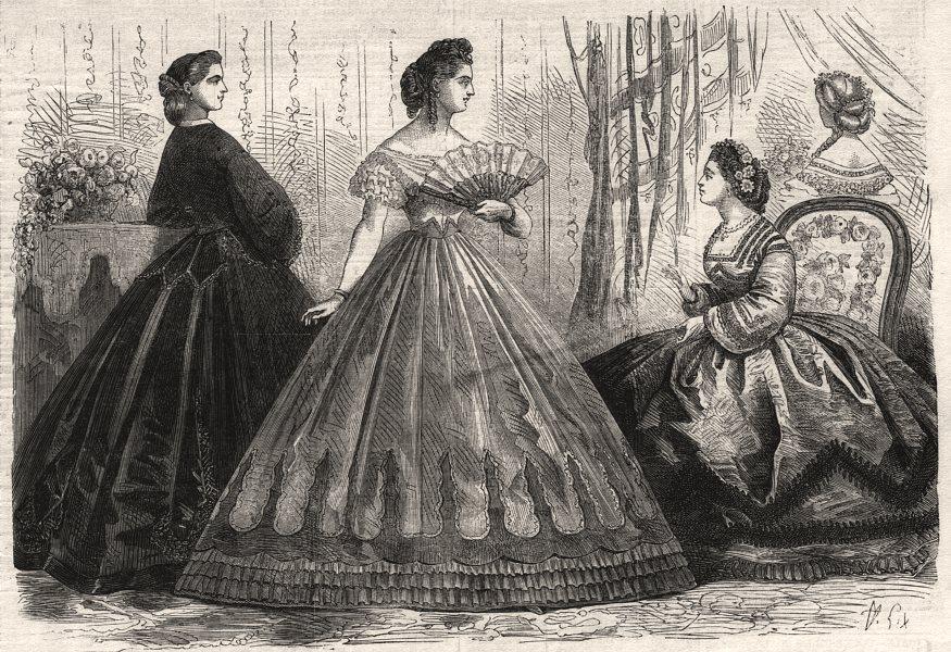 Associate Product Paris fashions for February, antique print, 1863