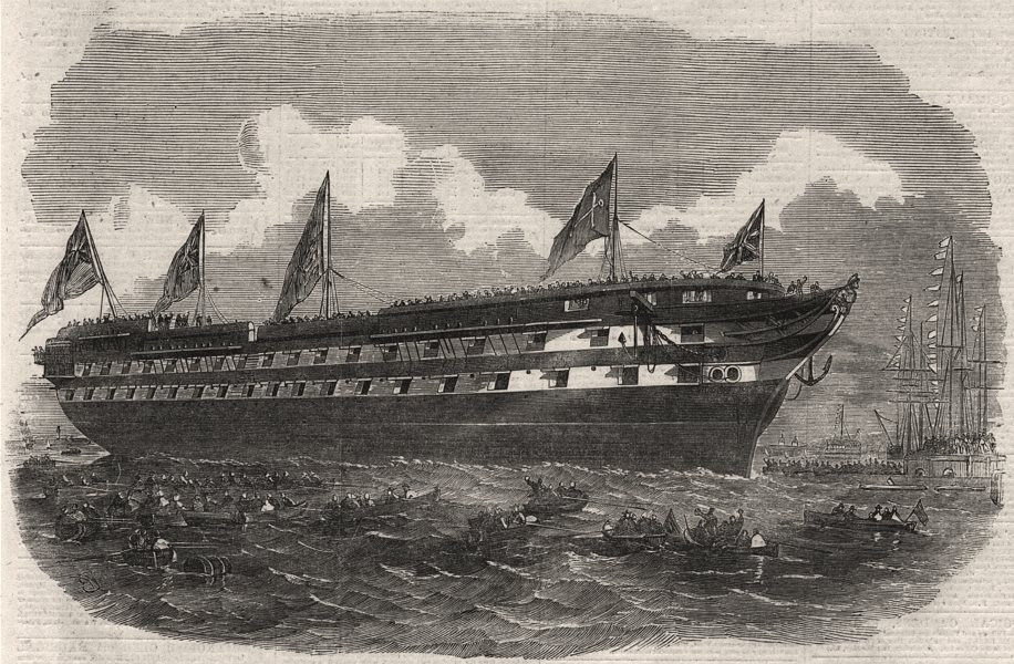 Associate Product Launch of The Hannibal steam ship from Her Majesty's dockyard at Deptford, 1854