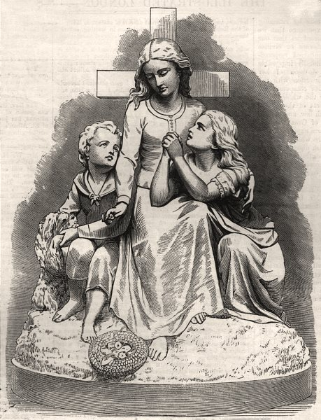 """Associate Product """"The Orphans"""" in the Royal Academy Exhibition. Children, antique print, 1874"""