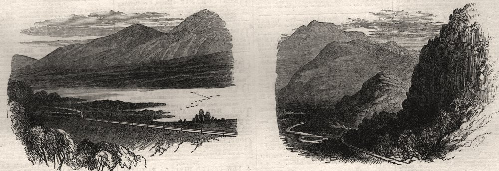 Associate Product Inverness and Perth Railway. Loch Inch; Craigellachie. Scotland, old print, 1863