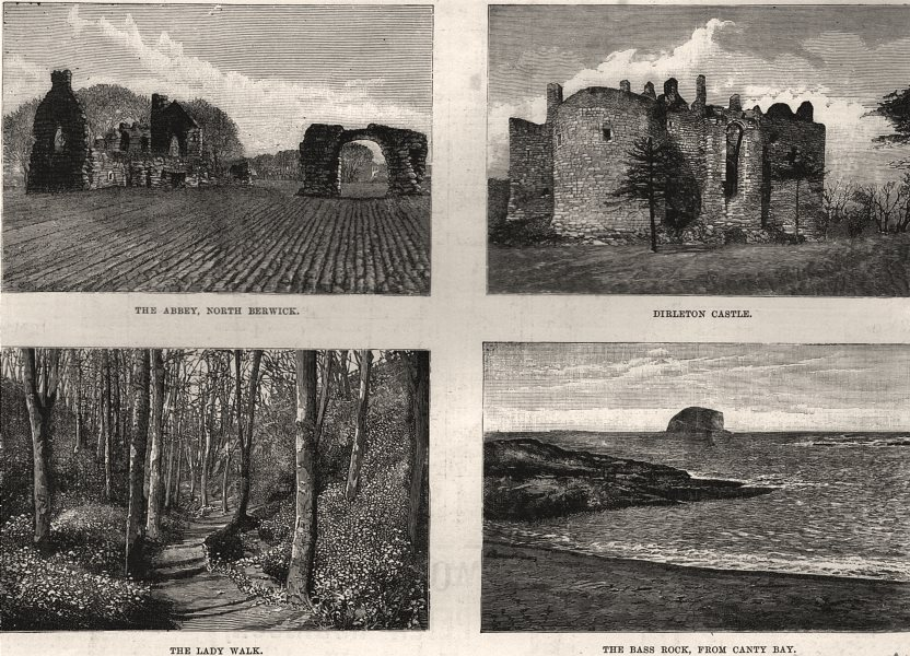 Associate Product North Berwick. Abbey; Dirleton Castle; Lady Walk, Bass Rock from Canty Bay, 1888