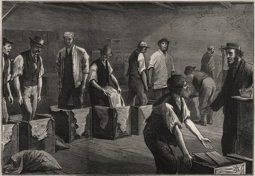 Associate Product Sketches at a tea warehouse: refilling the chests. London, antique print, 1874