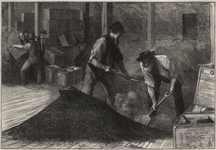 Associate Product Sketches at a tea warehouse: bulking. London, antique print, 1874