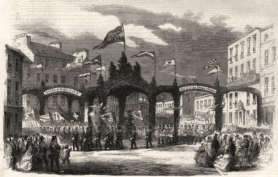 Associate Product Burns Centenary. The parade at Dumfries: triple arch in the High Street, 1859