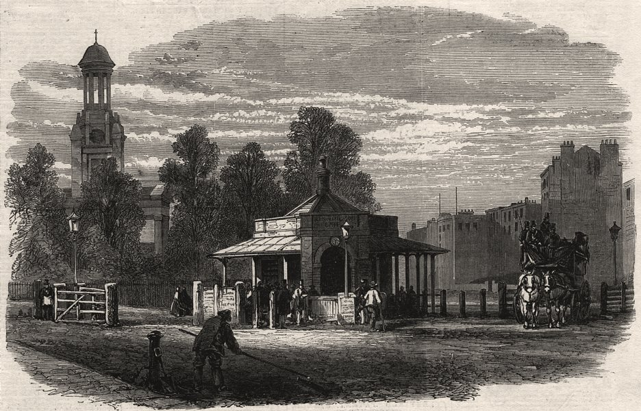 Associate Product Kennington turnpike gate, lately removed. London, antique print, 1865