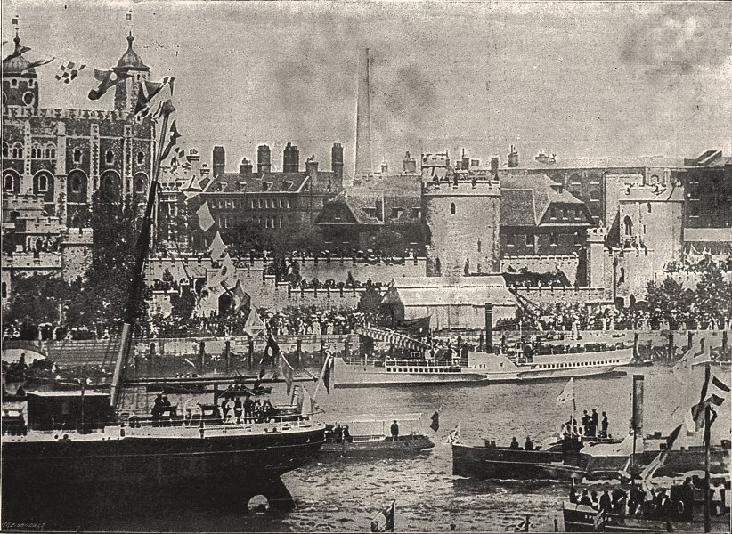 Associate Product The Royal Party embarking at the Tower. London, antique print, 1894