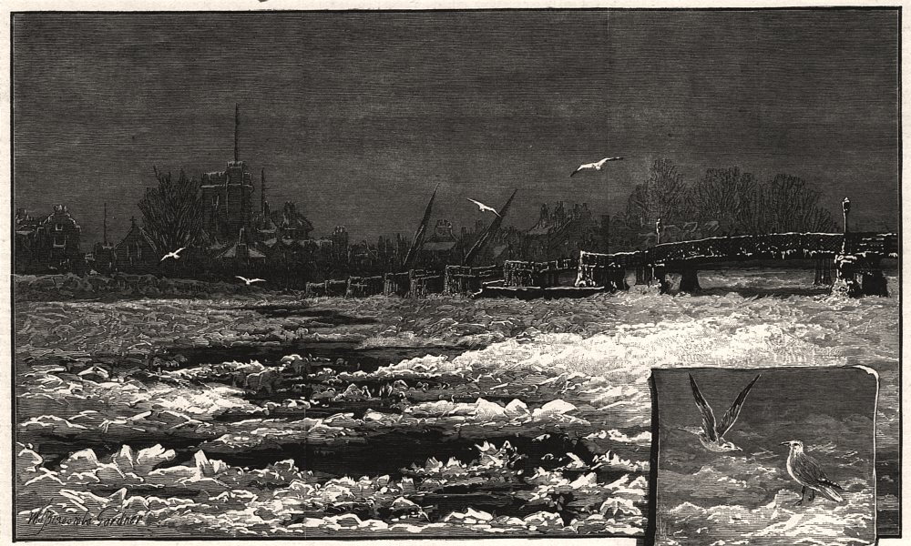 Associate Product Wintry weather on the Thames: the river at Putney. London, antique print, 1881