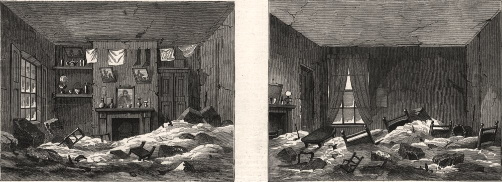 Associate Product The Lambeth flood during the storm: two rooms in Princes Square. London, 1881