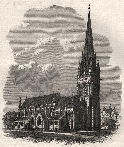 Associate Product Proposed new parish church at Kensington. London, antique print, 1869