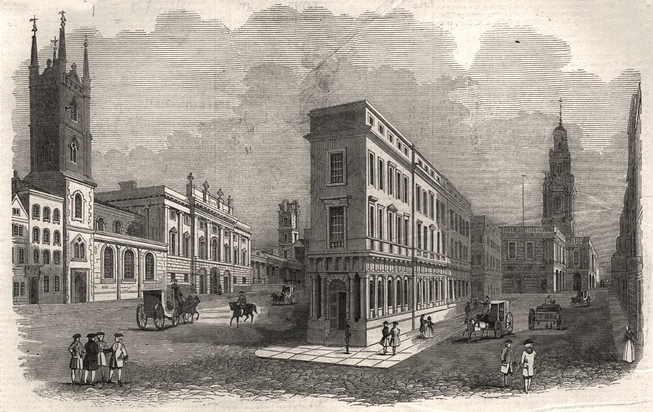 Associate Product The Royal Exchange and Bank Buildings, in 1780. London, antique print, 1844