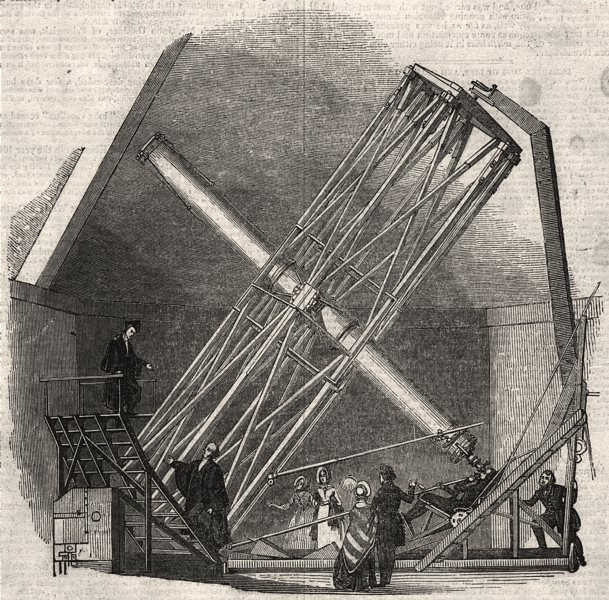 Associate Product The great Northumberland Telescope, at Cambridge, antique print, 1843