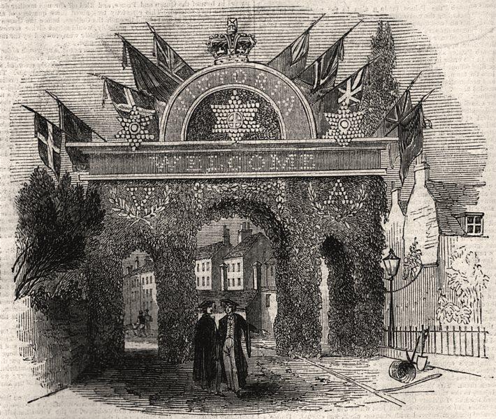 Associate Product Grand triumphal arch, Cambridge. Cambridgeshire, antique print, 1843