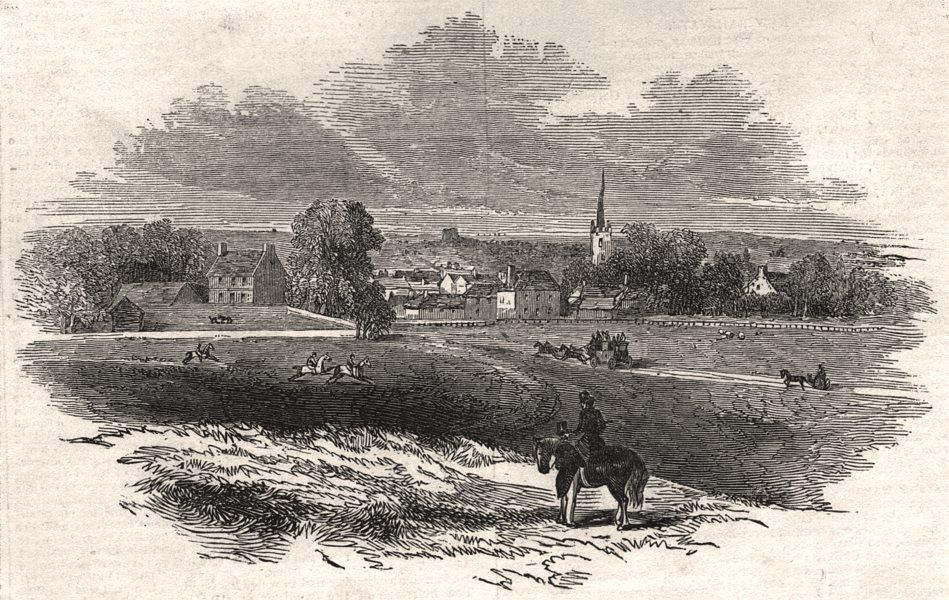Associate Product View of Newmarket. Suffolk, antique print, 1845