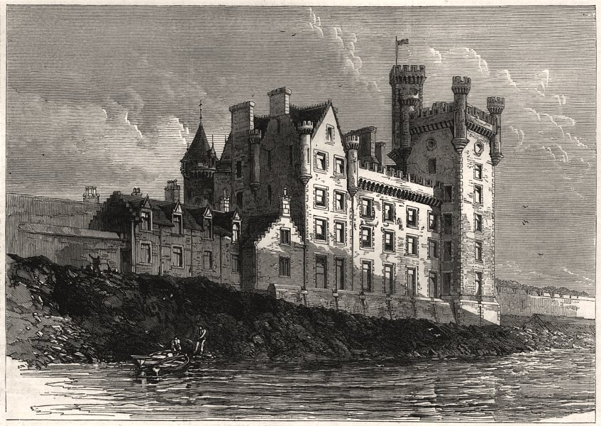 Associate Product Thurso Castle, visited by the Prince of Wales. Scotland, antique print, 1876