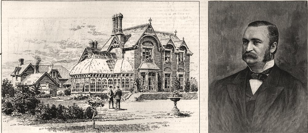 Associate Product Falmouth House, Newmarket; Mr. Blundell Maple, M. P, antique print, 1891