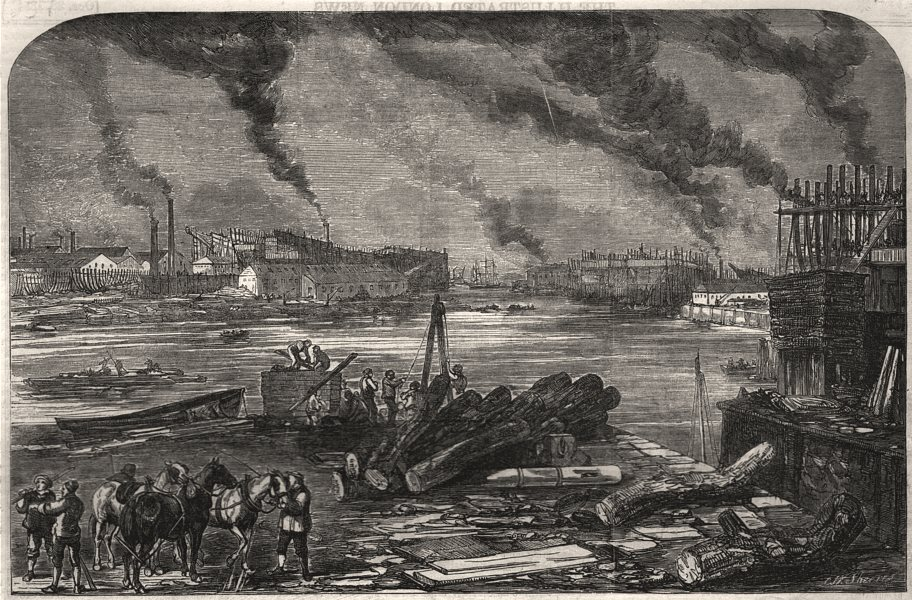 Associate Product Mare and Co. 's iron shipbuilding works, Bow Creek, Blackwall. London, 1854