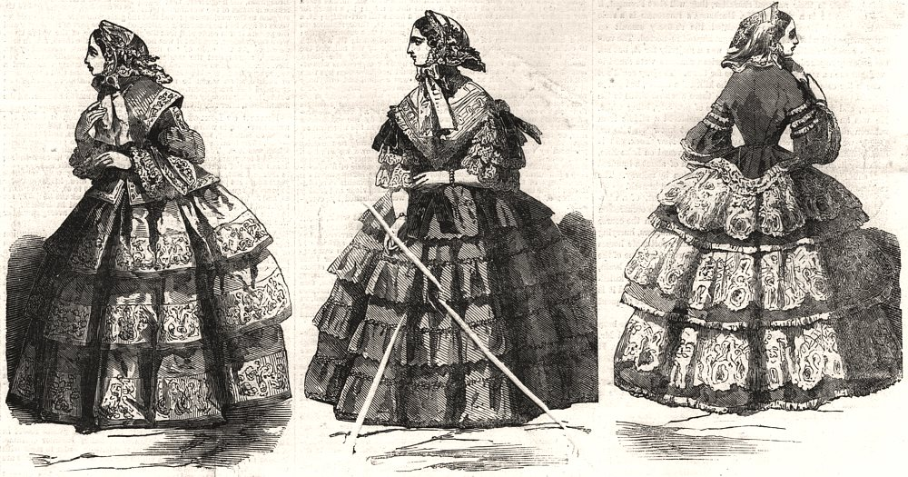 Associate Product Paris fashions for August, antique print, 1856