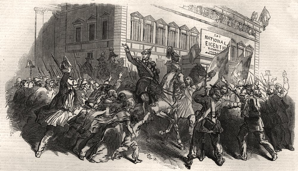 Associate Product Revolution in Prussia. The King of Prussia in the streets of Berlin, print, 1848