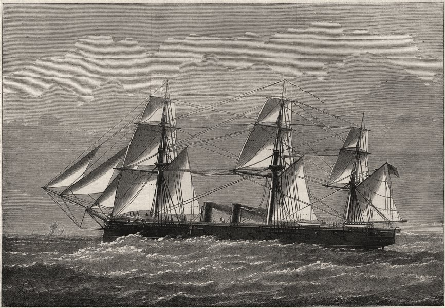 Associate Product H. M. S. Raleigh. Ships, antique print, 1874