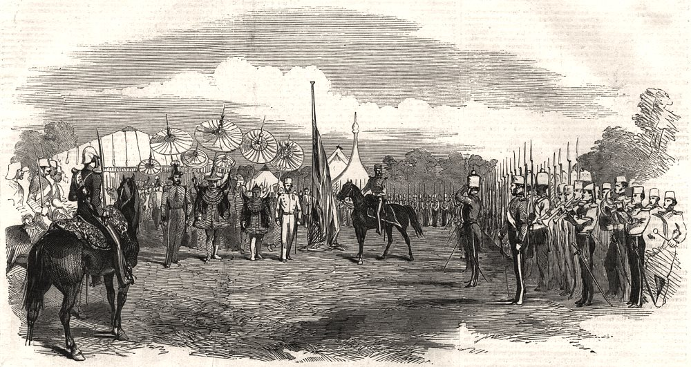 Associate Product Meeting of the Burmese Envoy & British Commissioners at Pyay. Burma, print, 1853