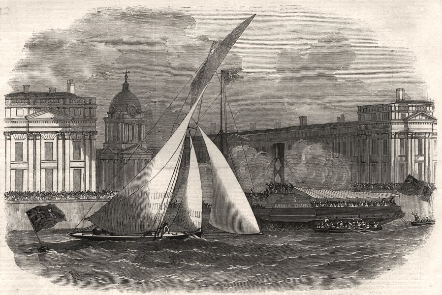 "Associate Product The Royal London Yacht Club match: the ""Julia"" winning at Greenwich, print, 1858"