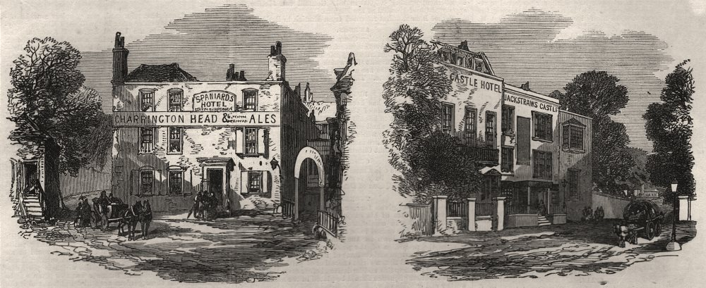 Associate Product The old taverns. Hampstead, antique print, 1871