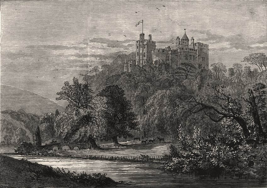Associate Product Visit of the Prince of Wales to Dunster Castle: the river front. Somerset, 1879